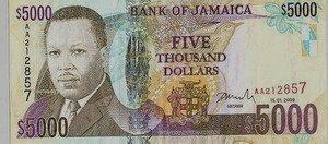Jamaican five thousand dollar bill