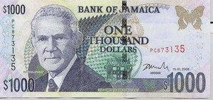 Jamaican one thousand dollar bill