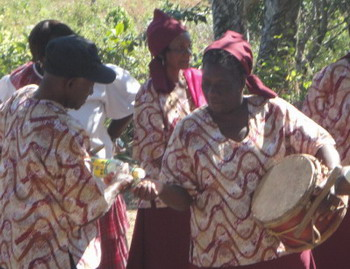 Consecrating Maroon Drum with Rum