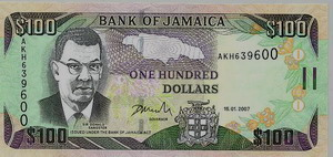 Jamaican Money $100 bill