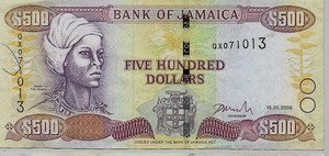 Jamaican five hundred dollar bill