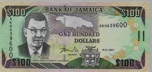 Jamaican one hundred dollar bill